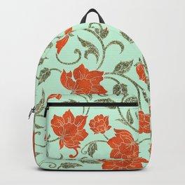Modern neo mint terracotta green glitter floral pattern Backpack
