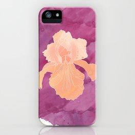 Peach Iris Watercolor Print iPhone Case