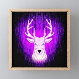 Patronus in the dark. Deer stag in glowing pink light. Framed Mini Art Print