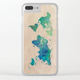 world map 95 green #worldmap #map Clear iPhone Case