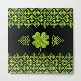 Irish Shamrock Four-leaf clover with celtic decor Metal Print