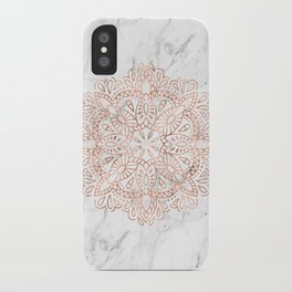 Rose Gold Mandala on Marble iPhone Case