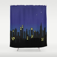 cityscape Shower Curtains featuring Cityscape by Jozi