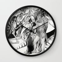 erotic Wall Clocks featuring Untitled Erotic Drawing by Eric Penington
