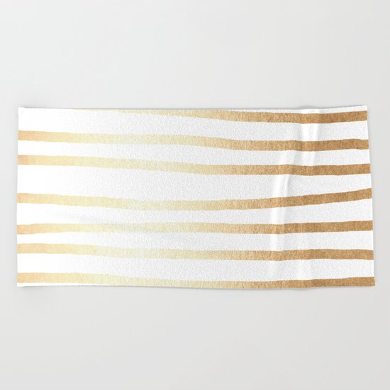 Simply Drawn Stripes Golden Copper Sun Beach Towel