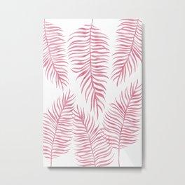 Fern Pattern Pink Metal Print