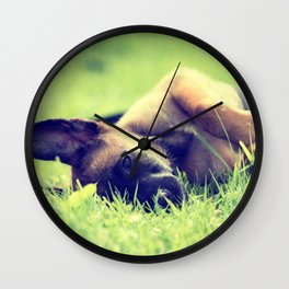 Bedtime for the small puppies Wall Clock
