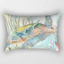 Underwater Fantasy Sea Turtle Rectangular Pillow
