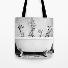 Four Giraffes in a Bath (bw) Tote Bag