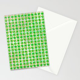 Lucky with gold horseshoes and four leaf clovers Stationery Cards