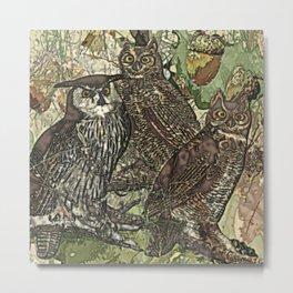 My owls in batik style Metal Print