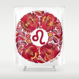 Leo in Petrykivka style (with signature) Shower Curtain