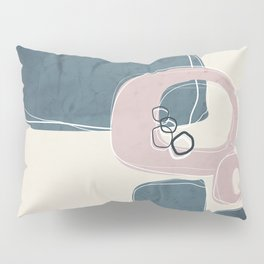 Retro Abstract Design in Shell Pink and Teal Pillow Sham