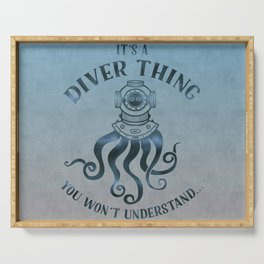 It's A Diver Thing Funny Octopus Scuba Dive Art Serving Tray
