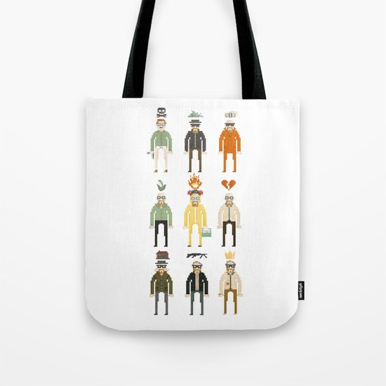 Walter White Pixelart Transformation- Breaking Bad Tote Bag