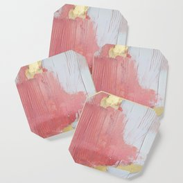 Melody: a pretty minimal abstract painting in gold pink and white by Alyssa Hamilton Art Coaster