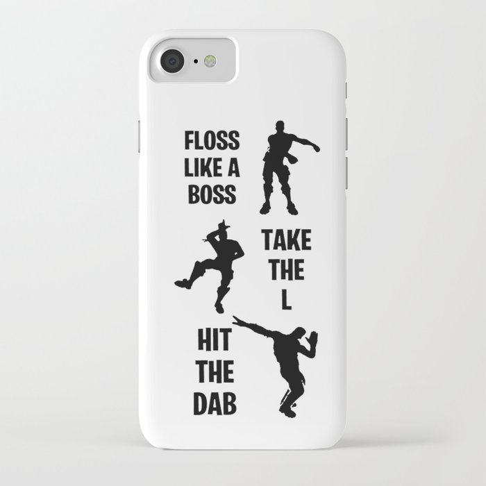 floss, dab, take the l dance emotes iphone case