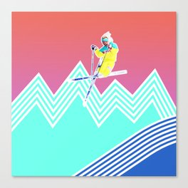 Dude skis like it's 1989 Canvas Print