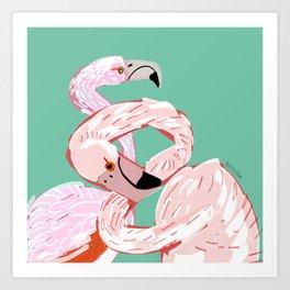 A flamingo never changes his Pink Art Print