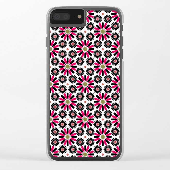 Small Hot Pink and Black Flowers Clear iPhone Case