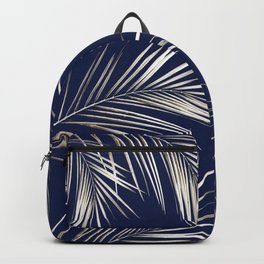 White Gold Palm Leaves on Navy Blue Backpack