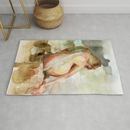 Watercolour Nude Woman Figure Expressive Colourful Painting of Female Rug