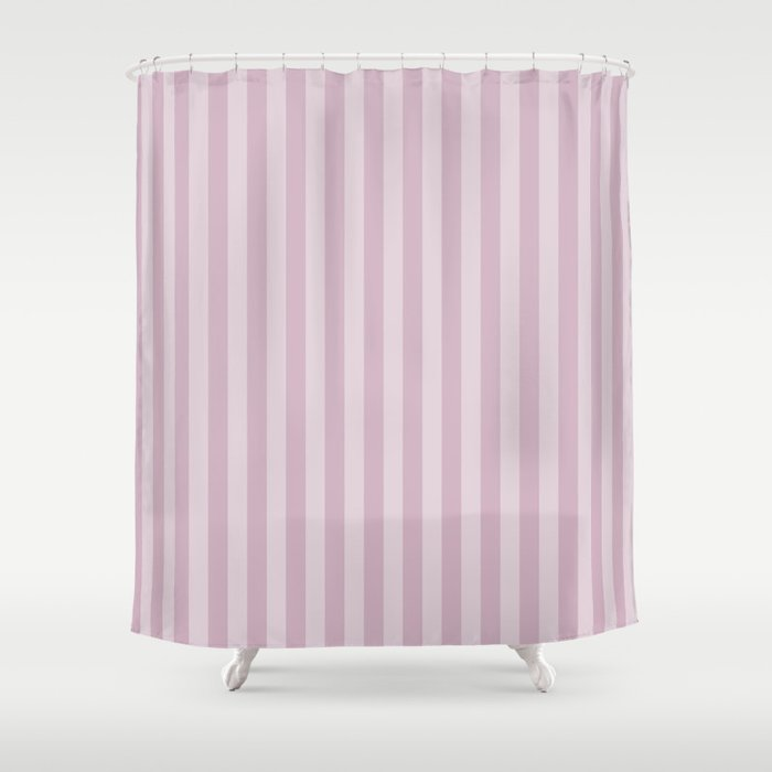 Simple Grey Pink Stripes Shower Curtain