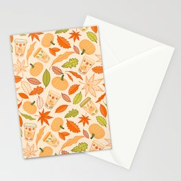 Pumpkin Spice Season Latte and Fall Leaves Pattern Stationery Cards