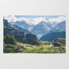 Swiss Alps Summer Landscape Rug