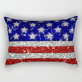 Glitter Sparkle American Flag Pattern Rectangular Pillow