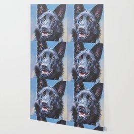 black German Shepherd dog portrait art from an original painting by L.A.Shepard Wallpaper