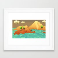 low poly Framed Art Prints featuring Low Poly Landscape by error23