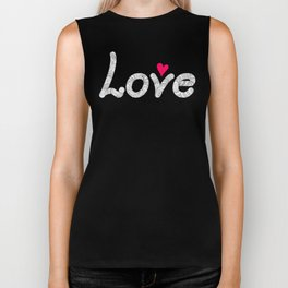 love with red heart Biker Tank