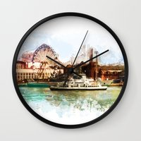 finland Wall Clocks featuring Helsinki city panorame, Finland by jbjart