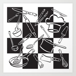 Kitchen Tools Checkerboard Art Print