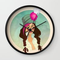 bohemian Wall Clocks featuring Bohemian by Kit Seaton