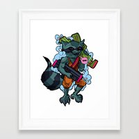 rocket racoon Framed Art Prints featuring Space Racoon by Brandon Arthur Mungal