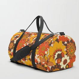 Retro 70s Flower Power, Floral, Orange Brown Yellow Psychedelic Pattern Duffle Bag