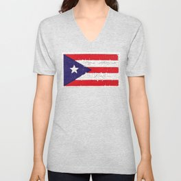 Puerto Rican flag with distressed textures Unisex V-Neck