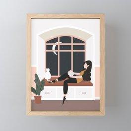 Girl Reading at Night Framed Mini Art Print