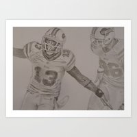 allyson johnson Art Prints featuring Stevie Johnson by Zachary Frank