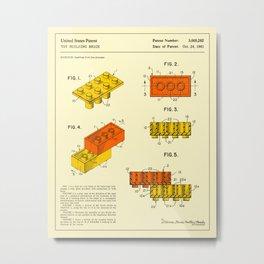 BUILDING BRICKS Patent (1961) Reproduction Metal Print