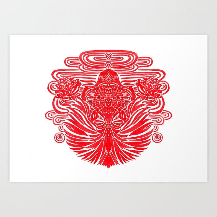 The Red Goldfish Art Print
