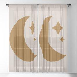 Moon & Stars - Desert Orange Sheer Curtain
