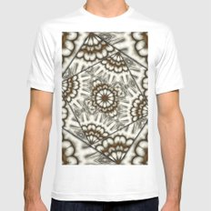 Abstract bold fans in brown and beige Mens Fitted Tee MEDIUM White