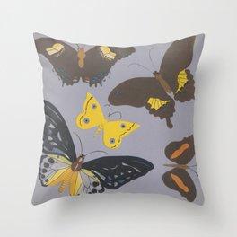 Butterflies Group on Purple Throw Pillow