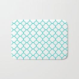 Aqua Blue Quatrefoil Clover Pattern Bath Mat