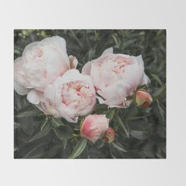 Flower Photography   Peonies Cluster   Blush Pink Floral   Peony Throw Blanket