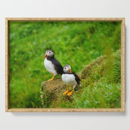 The Puffins of Mykines in the Faroe Islands II Serving Tray
