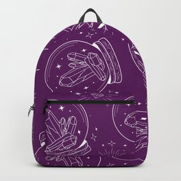 Globe with Chrystals inside in white lines on eggplant purple Backpack